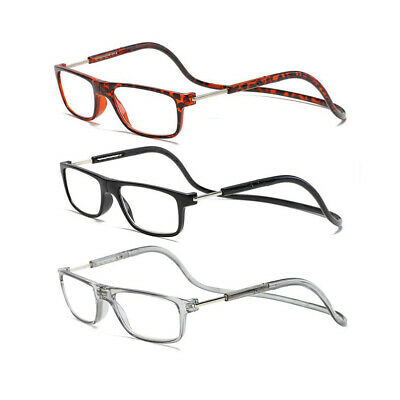 Magnetic Neck Hanging Reading Glasses Front Snap Connect Foldable +1.00~+4.00