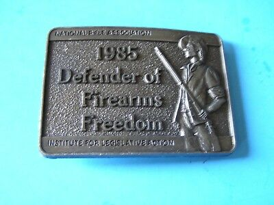 The National Rifle Association 1985 Defender of Firearms Freedom Belt Buckle