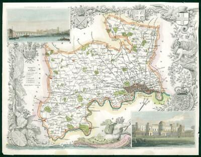"""1840 - Antique Map of """"MIDDLESEX"""" LONDON by Thomas Moule hand Coloured (bm32)"""