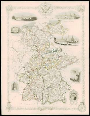 """1850 Original Illustrated Antique Map of """"GERMANY""""  by Tallis (100d)"""