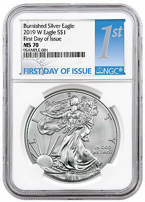 2019 W 1 oz Burnished American Silver Eagle NGC MS70 FDI SKU55854