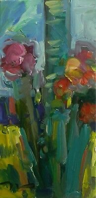 Jose Trujillo Oil Painting Abstract Expressionism Floral Modernist Canvas Signed