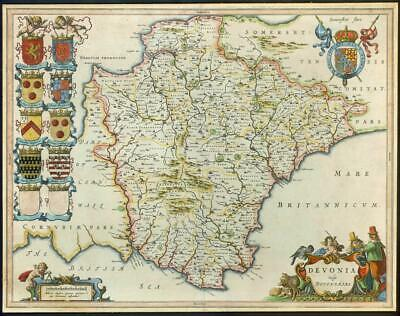 c1646 - Antique large Decorative Map of DEVON Devonia Devonshire  by BLAEU (LM5)