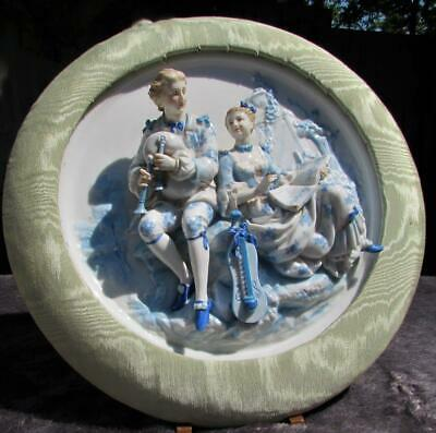 Rare Antique German Dresden Porcelain Figural Wall Plaque in High Relief. Framed