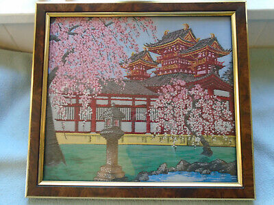Framed Fine Woodblock  Japanese Silk Embroidery Pagoda & Blossom