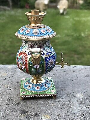 Antique Style Russian Enamel Gold Gilded Solid Silver Rare Tea Making Samavar