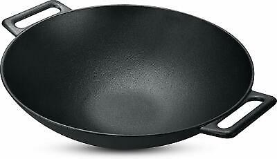 Cast Iron Shallow Concave Wok, Black, 30.5 cm, Wide Handles - by Utopia Kitchen