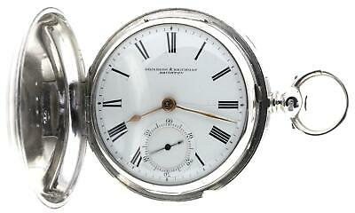 Solid silver full hunter English fusee lever pocket watch 1875 cleaned & working