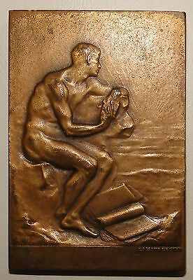 French Bronze Medal Art Deco Nude Man By Lamourdedieu
