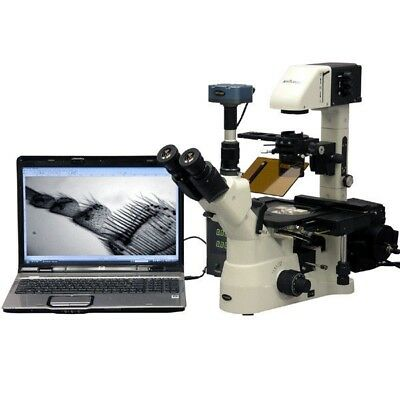AmScope 1500X Phase Contrast Inverted Fluorescence Microscope + 1.4MP B/W Cam