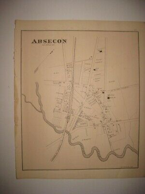 Superb Rare Antique 1878 Absecon New Jersey Handcolored Map Railroad Detailed Nr