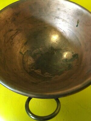Antique Copper Bowl Rustic Old World Mixing Round Hanging Heavy Quality Tarnish