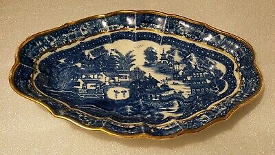 Antique Blue Willow Oval Oblong Gold Gilt Tray Bowl