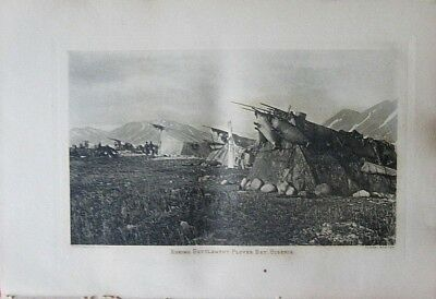 1901 ES CURTIS antique photogravure ESKIMO Settlement Plover Bay Siberia Russia