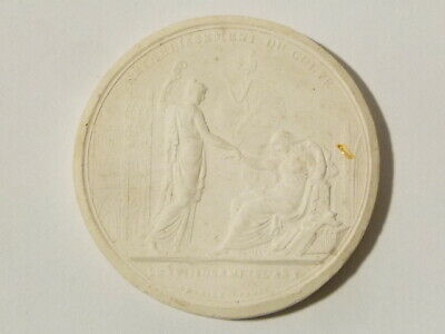 Antique 1819 Medal RETABLISHSMENT DU CULTE Plaster Moulding Grand Tour #W32