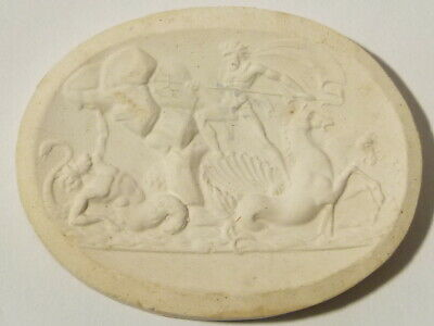 Antique Pictorial Neptune and Mermaid Plaster Moulding Grand Tour #W43