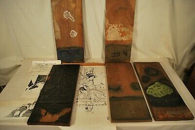 Japanese Antique Wood Carved Utamaro Woodblock  Hangi / 10 Carvings