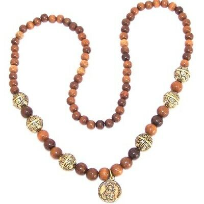 Elastic wooden beads necklace with metal beads and Mother of Sorrows medal -