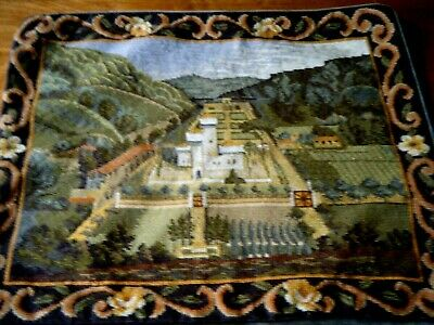 Old vtg Wool Tapestry Castle H Ebroi/red needlepoint  pillow case deco
