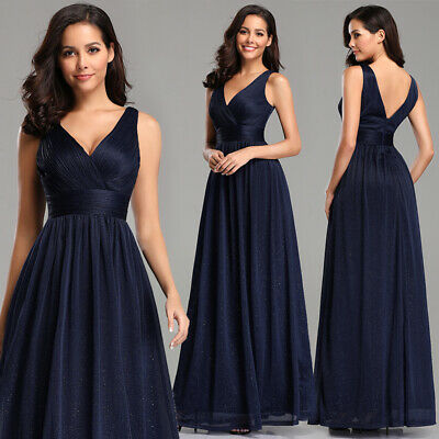 Ever-Pretty Navy V-Neck Evening Dress Lace Mesh Fishtail Bodycon Gowns 07886