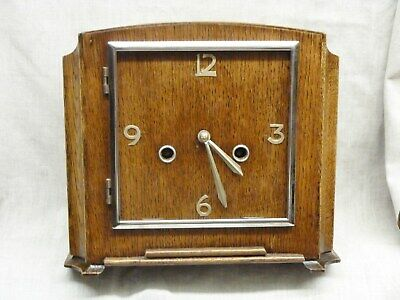 lovely art deco oak mantel clock by smiths sold bravingtons kings cross 8 day