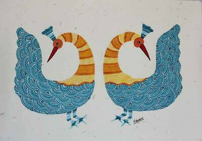 Graceful Peacocks~Trad'l GOND PAINTING on Handmade Paper Signed by Novica India