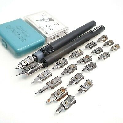 PELIKAN GRAPHOS technical drawing fountain pen SET  Vintage + 1 rOTRING EXT PEN