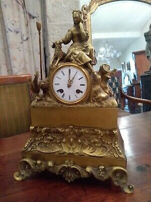 Antique French Mantle Clock Bronze Ormolu 8 Day Empire Figural Bell Striking