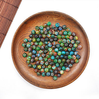30Pcs/Set 8mm Double Color Glass Pearl Round Spacer Loose Beads Jewelry Making