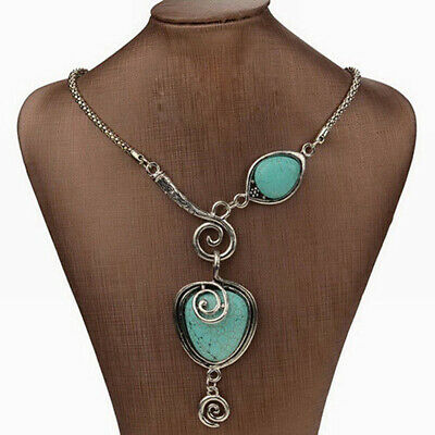 Retro Women Boho Tibet Silver Turquoise Heart Pendant Chunky Statement Necklace