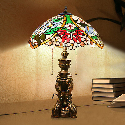Tiffany Lamp Victorian Double Lit Table Lamps Stained Glass Bedside Desk Gifts