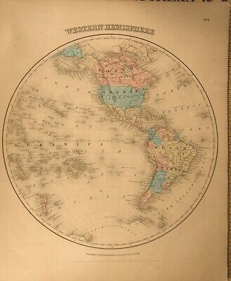 Antique 1859  Colored Engraving Map Western Hemisphere Colton's General Atlas