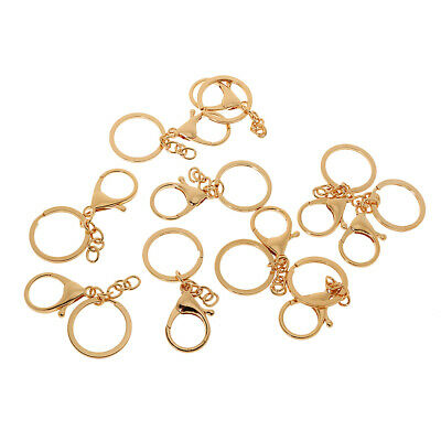 10pcs Alloy Lobster Clasp Clips Keyring Key Chain Ring Findings Golden 2x3cm