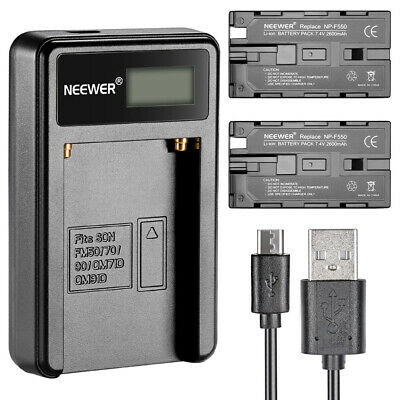 Neewer Micro USB Battery Charger + 2*2600mAh NP-F550/570/530 Replacement Battery