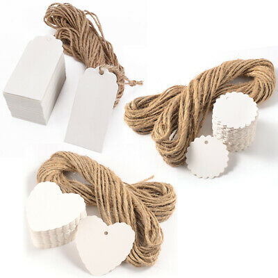 100 White Writing Blank Paper Tags Label + Strings Round Heart Rectangle