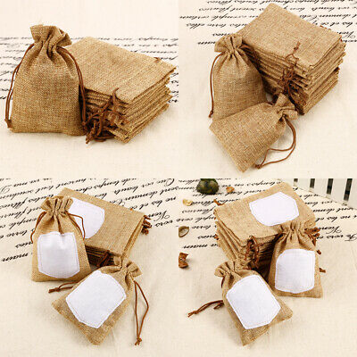 10/20 Natural Burlap Bags Jute Hessian Drawstring Sack Wedding Favor Gift