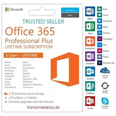 Office 365 Pro Plus - ✅ 5 Devices - ✅ Lifetime License - ✅ Mac, Windows & Mobile