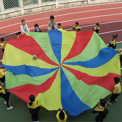 16ft Kids Play Rainbow Parachute Outdoor Game Development Exercise T #