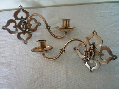 Pair Arts Crafts Design Decorative Brass Candlestick Holders Wall Sconce Candle