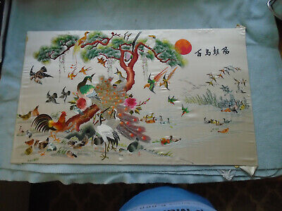 Vintage Chinese Floral  Embroidery Mandarin Ducks And Other Birds