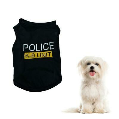 Dog Cat Vest Police Puppy T-Shirt Coat Pet Clothes Summer Apparel Costumes Black