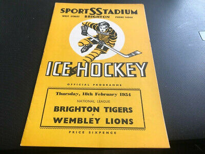Brighton Tigers V Wembley Lions---Ice Hockey Programme--18Th February 1954