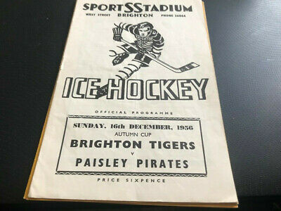 Brighton Tigers V Paisley Pirates---Ice Hockey Programme--16Th December 1956