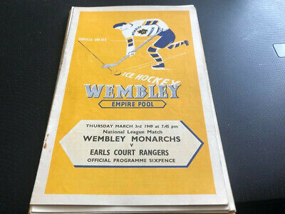 Wembley Monarchs V Earls Court Rangers--Ice Hockey Programme--3Rd March 1949