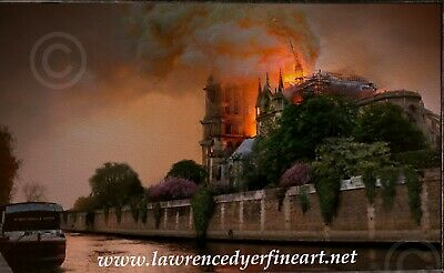 PARIS IN TEARS Notre Dame Cathedral Fire Giclee Art Print Charity Donation Gift