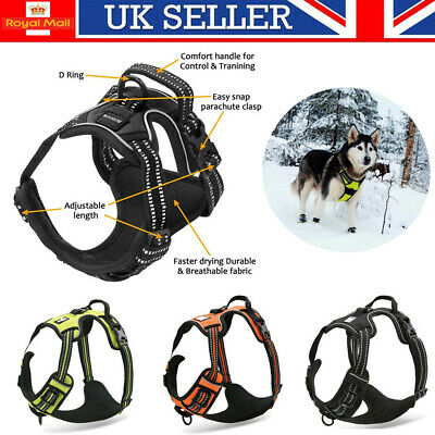 No-pull Dog Pet Harness Reflective Outdoor Adventure Vest Padded Handle 3M UK