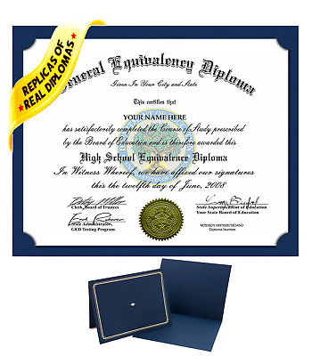 FAKE Ged Diploma Custom Diplomas Authentic Looking With FREE Diploma Holder!