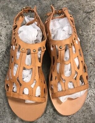 Ancient Greek Sandals Womens Natural Leather Gladiator Size 41