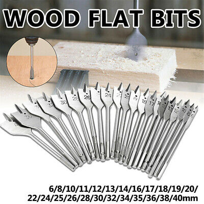 WOOD DRILLING FLAT HEAD BITS 6mm-40mm HEX DRILL BIT SET WOODEN STORAGE CASE