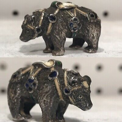 Antique Very Rare Russian Imperial Faberge Typ Enamel Solid Silver Bear Figure